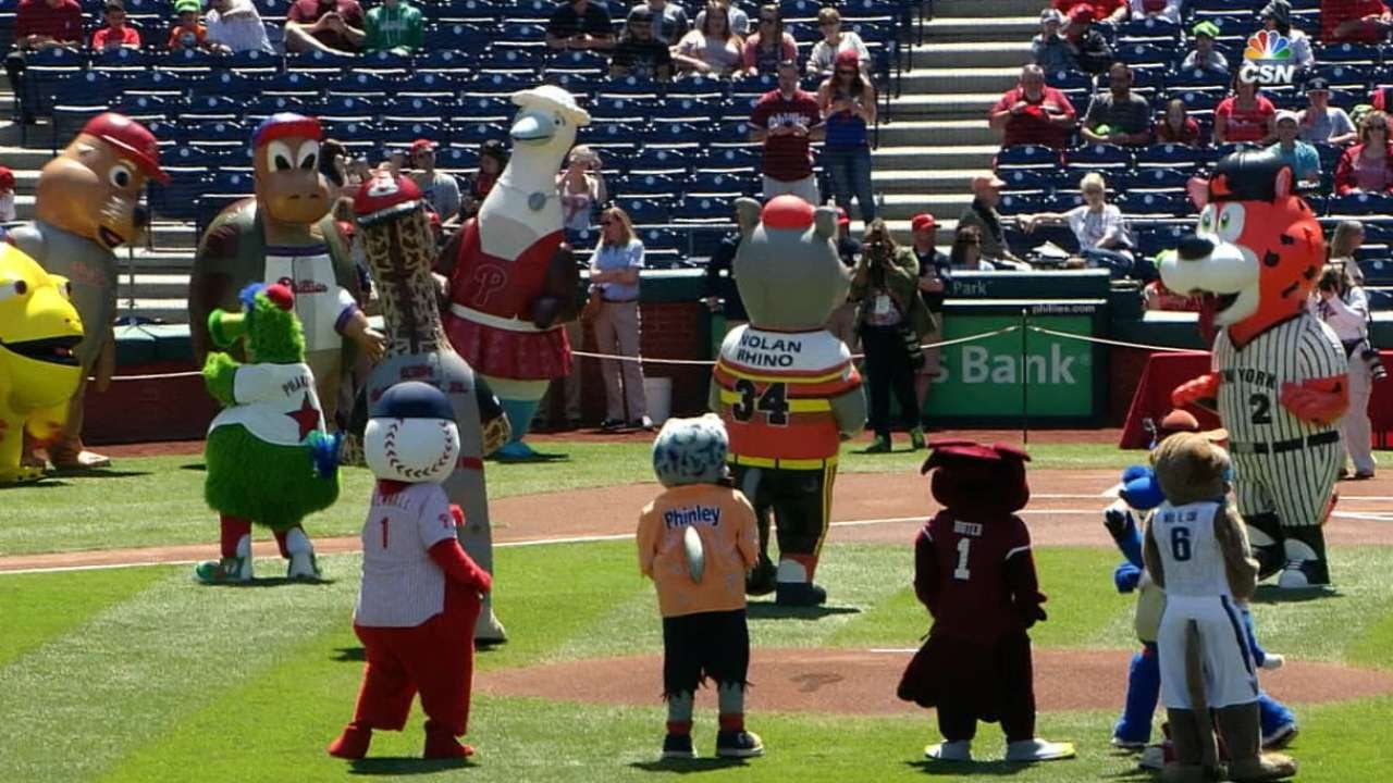 Mascots help celebrate the birthday of the Phillie Phanatic