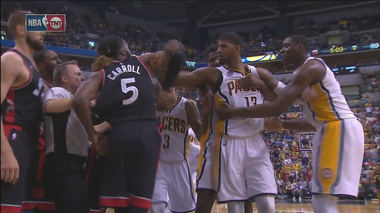 Paul George gets into scuffle with Jonas Valanciunas & DeMarre Carroll