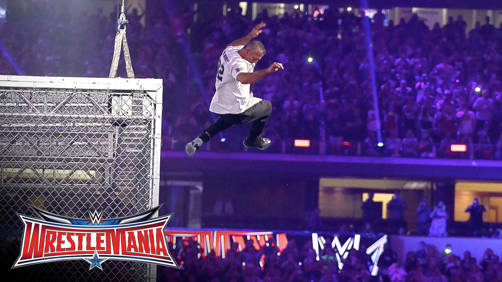 Shane McMahon jumps off of steel cage at Wrestle Mania