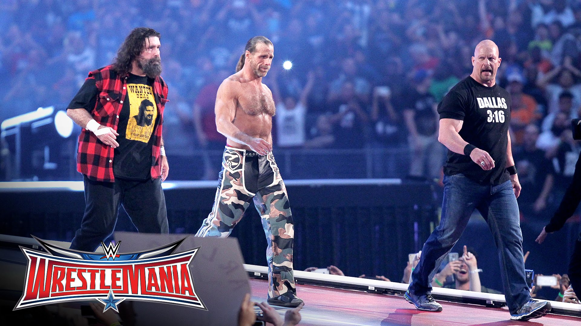 Stone Cold Steve Austin, Shawn Michaels & Mick Foley make Wrestle Mania appearence