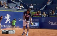 Tennis ball boy takes a hilarious face plant at Barcelona Open
