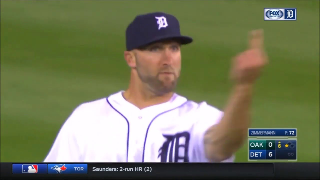 Tigers outfielder Tyler Collins gives the finger to his own fans