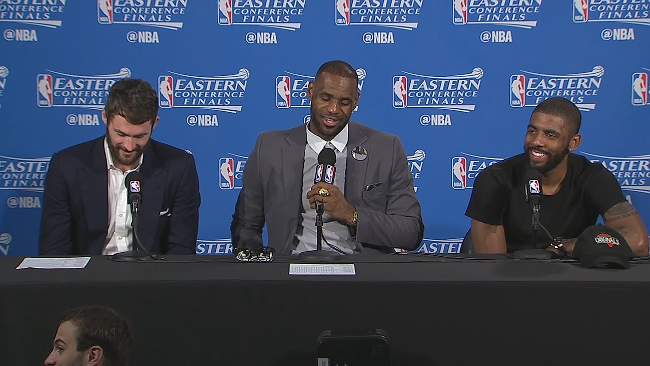 All laughs during LeBron James, Kevin Love & Kyrie Irving's press conference