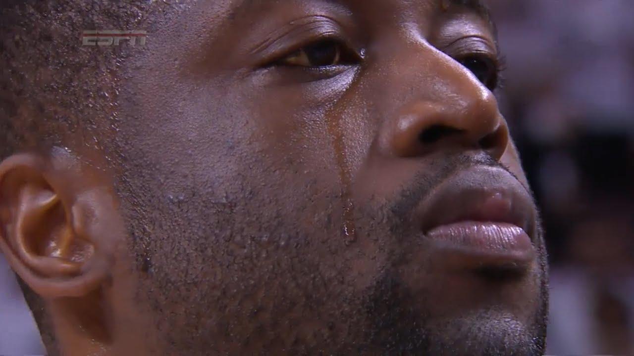 Dwyane Wade in tears during national anthem before Game 7 tip