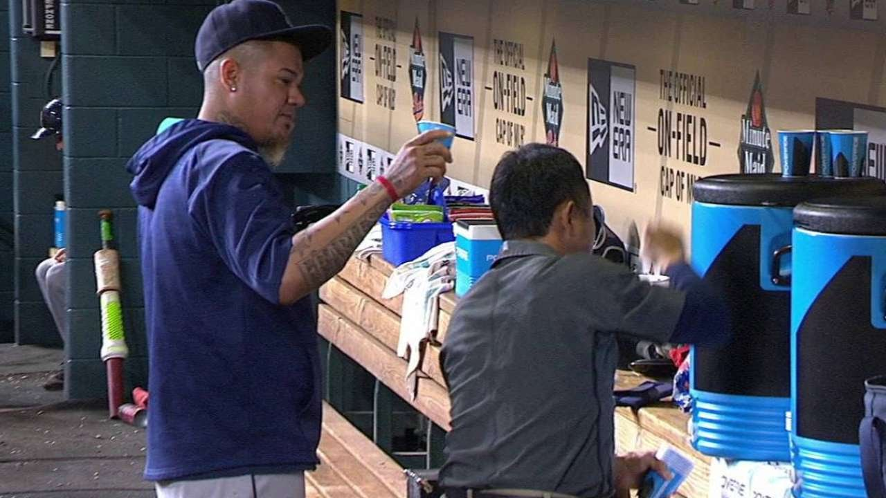 Felix Hernandez dumps water on water boy