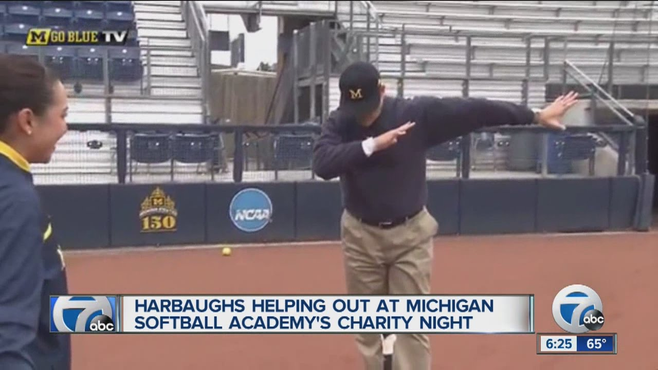Jim Harbaugh belts a home run & hits the dab after