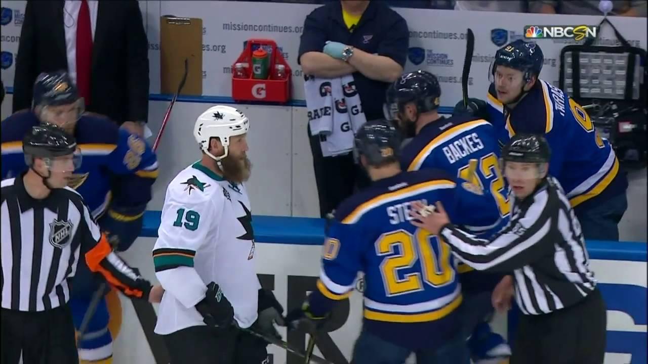 Joe Thornton & David Backes get into a beard fight