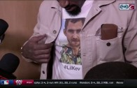 "JR Smith shows off his Kevin ""Lil Kev"" Love shirt"