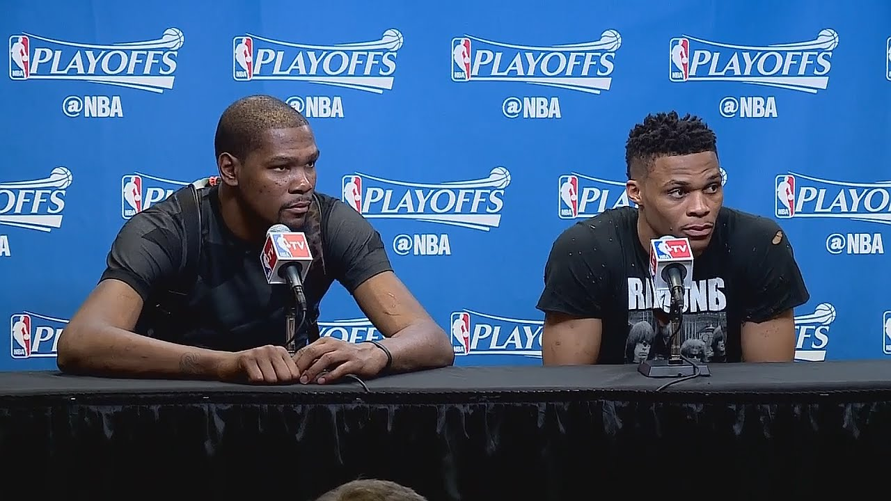 Kevin Durant & Russell Wesbrook post game press conference for Game 2