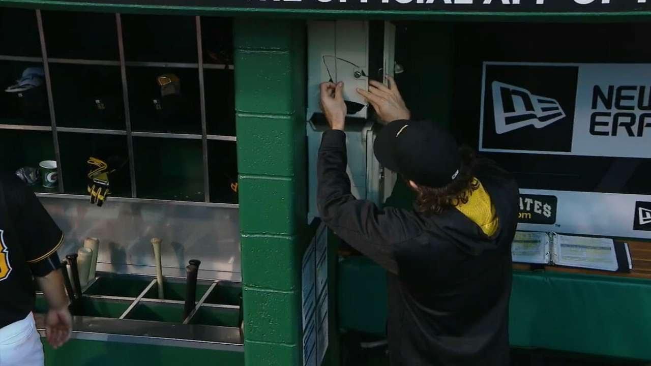 Paul Goldschmidt breaks dugout phone with a foul ball