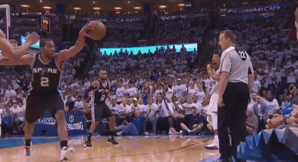 Kawhi Leonard goes defensive back for the palmed steal