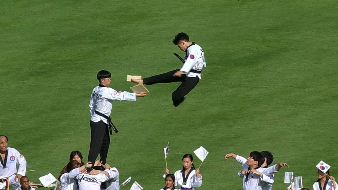 Texas Rangers celebrate Korean night with high flying kicks