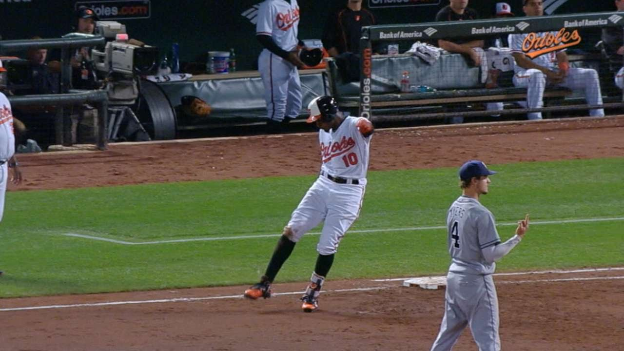 Adam Jones punts his gum after popping out