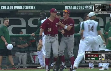 Bat flip causes bench clearing brawl between Miami & Boston College