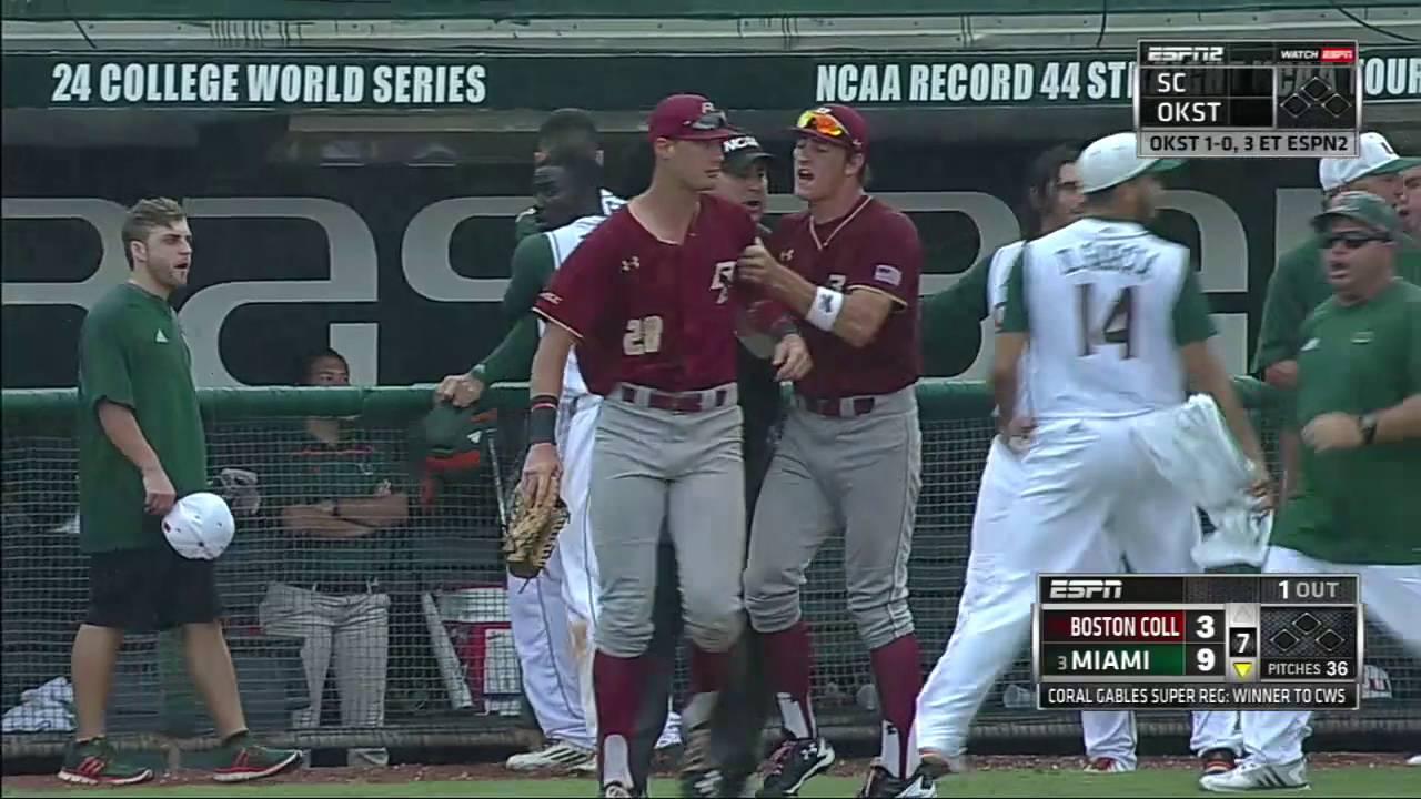 Bat flip causes bench clearing brawl between Miami & Boston College