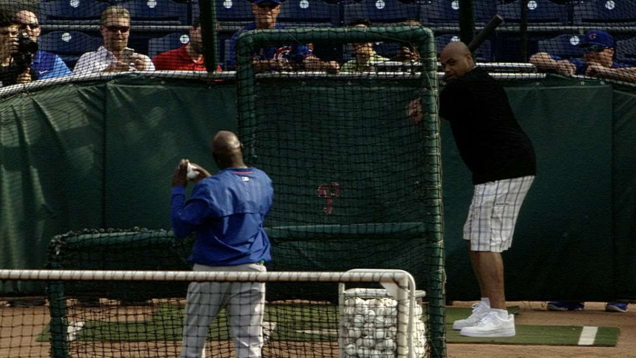 Charles Barkley takes batting practice with the Cubs