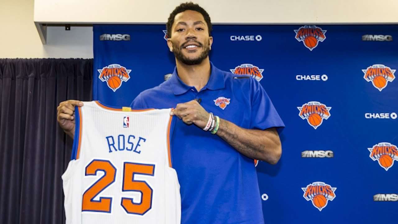 Derrick Rose New York Knicks Introductory Press Conference
