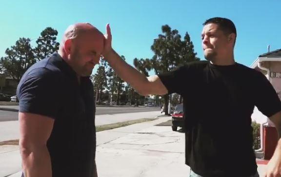 Nate Diaz slaps Dana White in the face