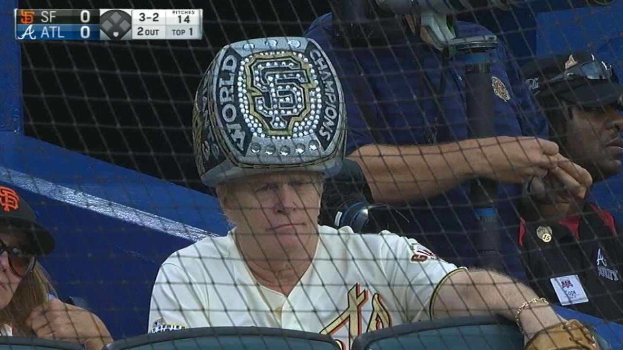 Giants fan wears huge World Series championship ring hat