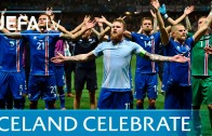 Iceland lead incredbile viking celebration with their fans