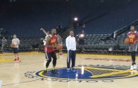LeBron James casually sinks a half court shot