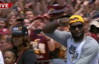 LeBron James greets the Cleveland crowd in his motorcade
