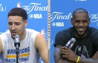 LeBron James laughs at Klay Thompson's comments