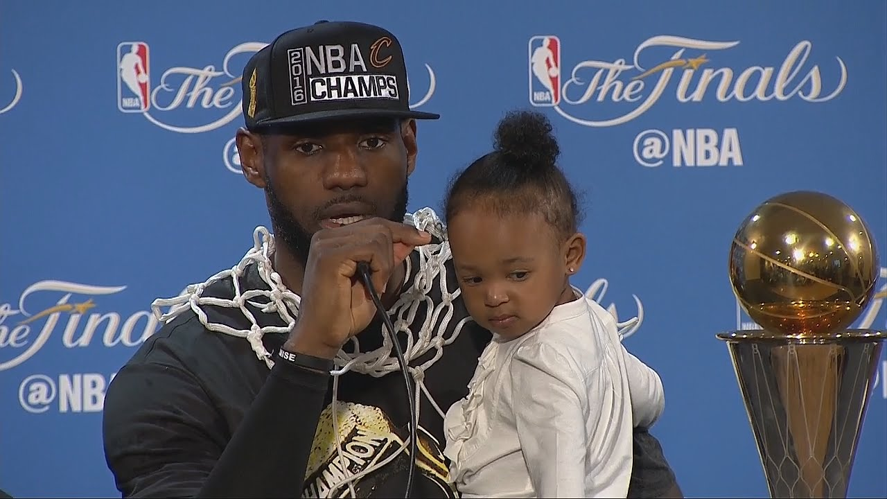 LeBron James speaks to the media after winning NBA Championship