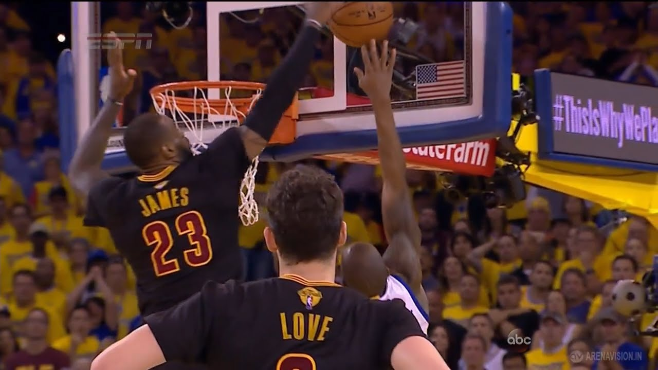 LeBron James with a series defining block on Andre Iguodala