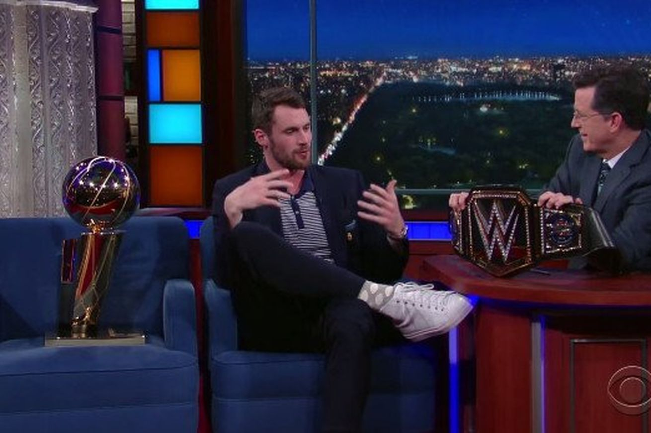 Kevin Love talks about his love for the WWE with Stephen Colbert