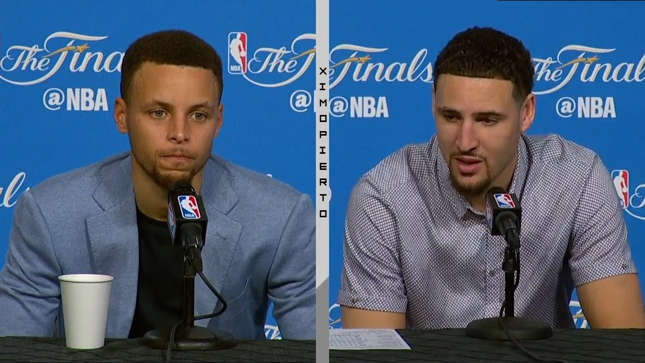 Steph Curry & Klay Thompson speak to the media following Game 4 win