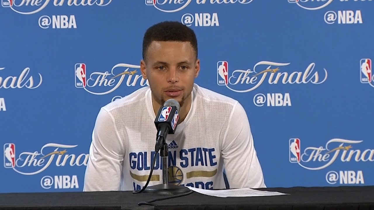 Steph Curry speaks to the media following Game 7 loss