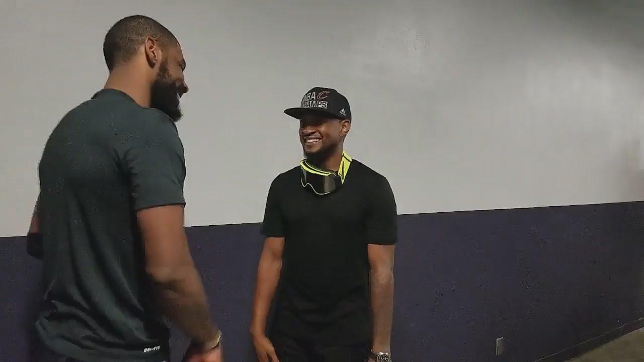 Usher & Kyrie Irving celebrate NBA Championship in Hallway