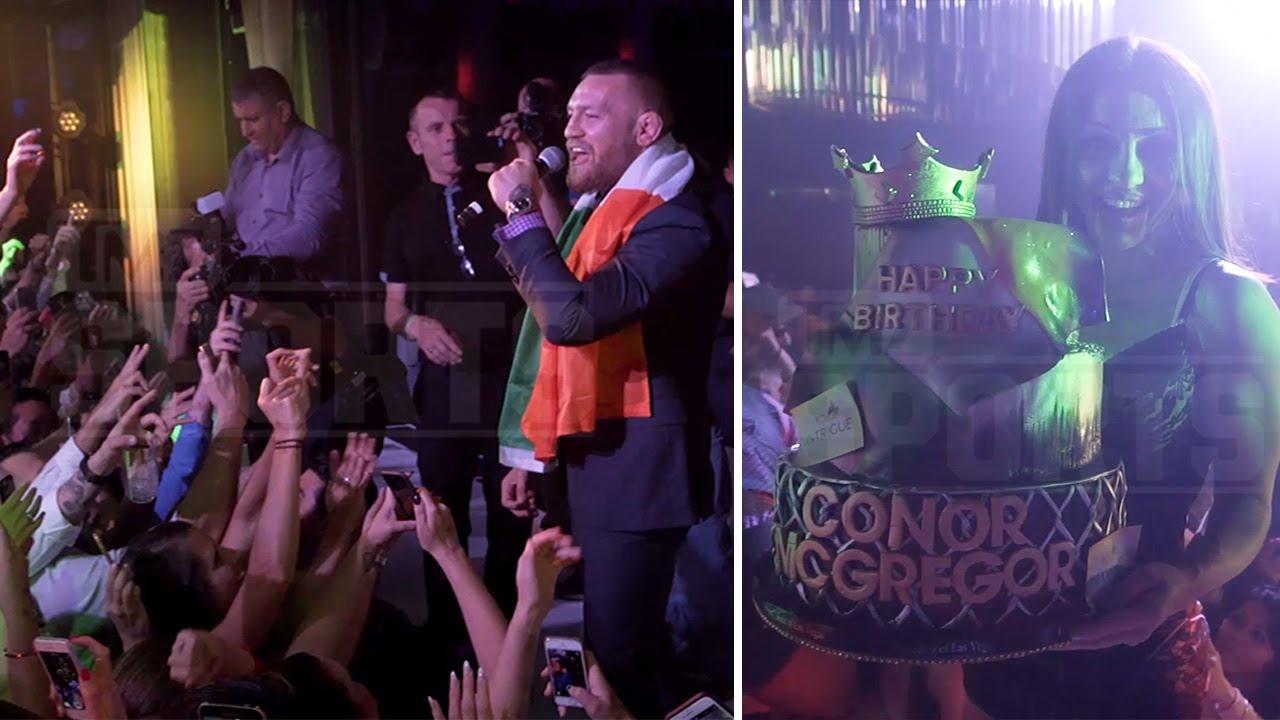 Conor McGregor enjoys champagne & birthday cake post UFC 200
