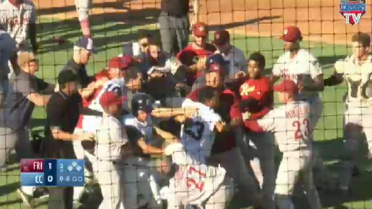Corpus Christi Hooks & Frisco RoughRiders bench clearing brawl