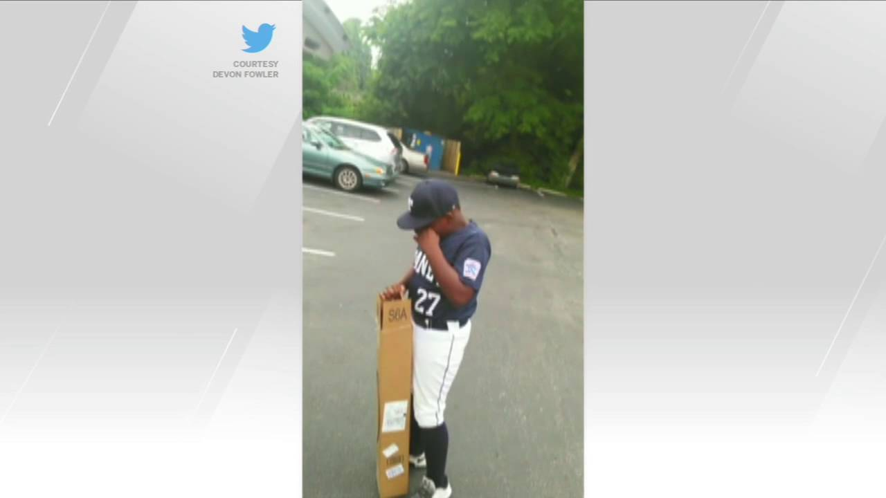 Father Makers Young Son Cry with New Baseball Bat