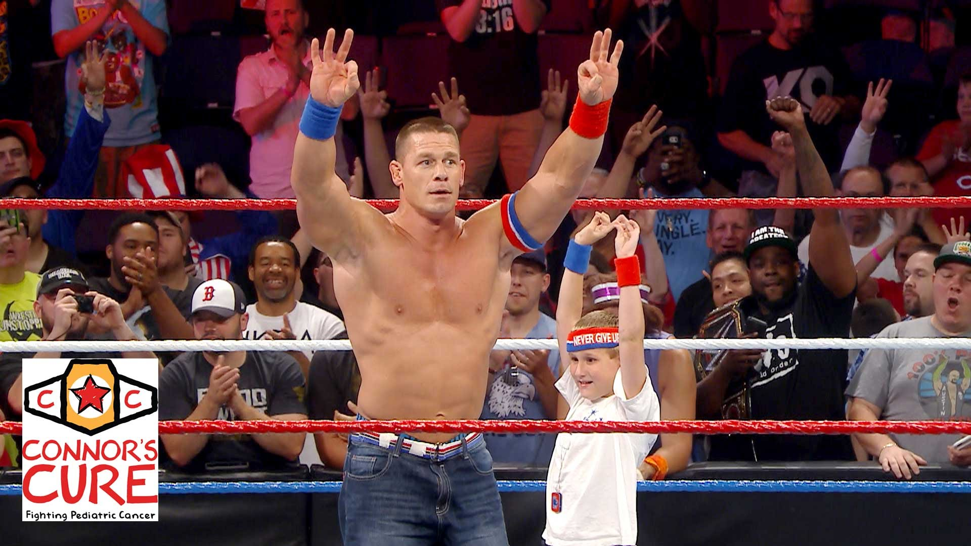 John Cena brings a young fan who beat cancer into the WWE ring