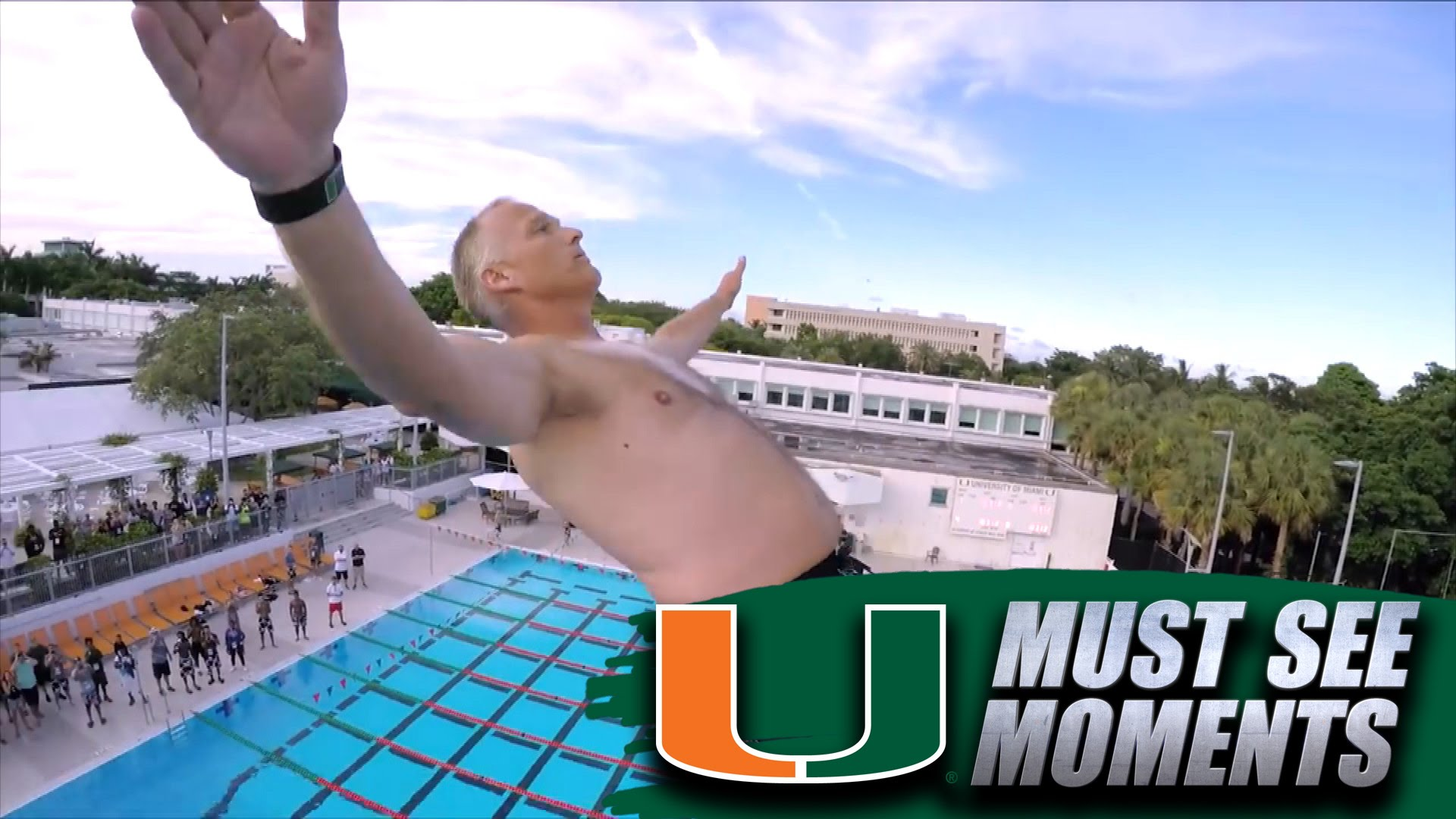 Mark Richt Does a Back Flip High-Dive at Miami Paradise Camp