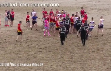 Massive fight happens at beach rugby tournament in Wales