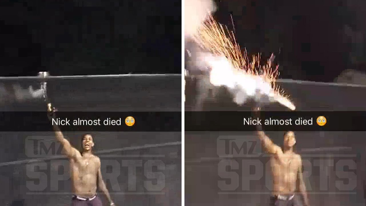 Nick Young nearly blows off his hand playing with fireworks