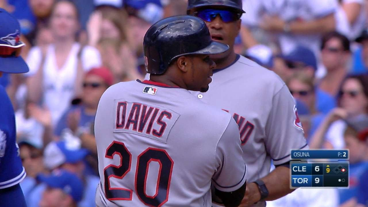 Rajai Davis hits for the cycle off the Toronto Blue Jays
