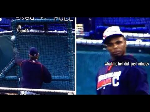 Rajai Davis with the best reaction ever to BP Pitch fail