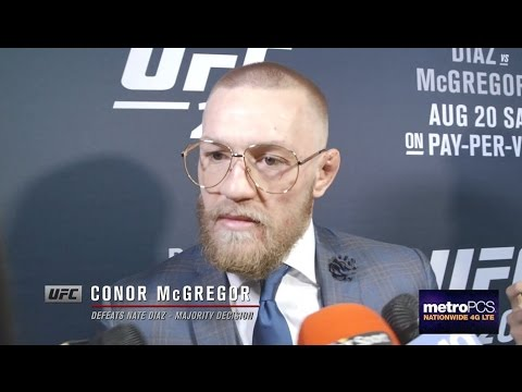 Conor McGregor backstage interview after defeating Nate Diaz