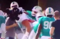 Laremy Tunsil gets his first taste of Dolphins camp with a teammate scuffle