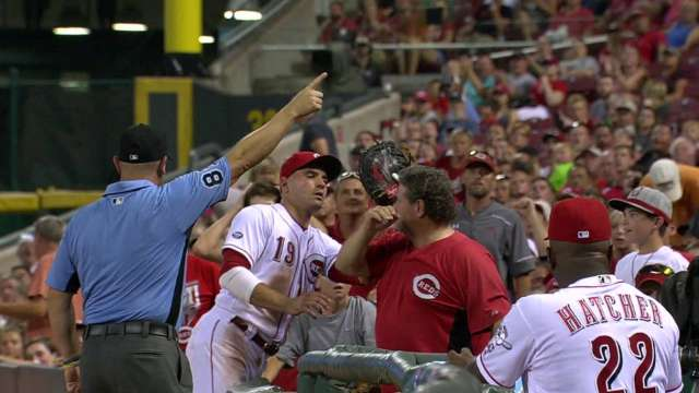 Joey Votto grabs Reds fan's shirt in disgust but apologizes with signed ball