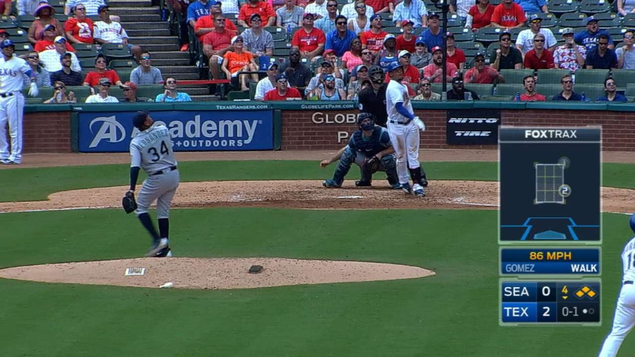 Carlos Gomez smacks a grand slam off of King Felix
