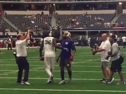 Dez Bryant & Odell Beckham Jr play catch before kickoff
