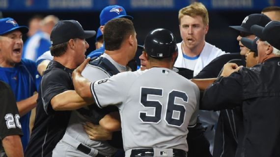 Benches clear twice during Jays vs. Yankees