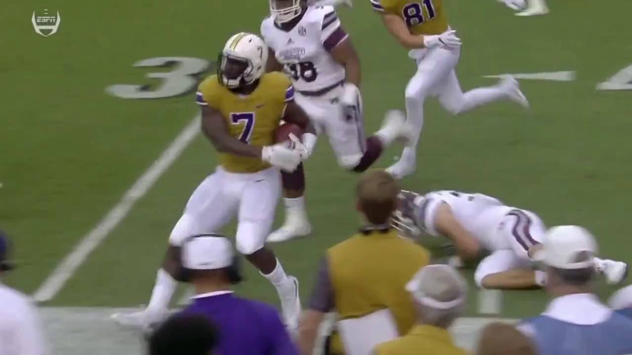 Leonard Fournette stiff arms Mississippi State defender into the ground