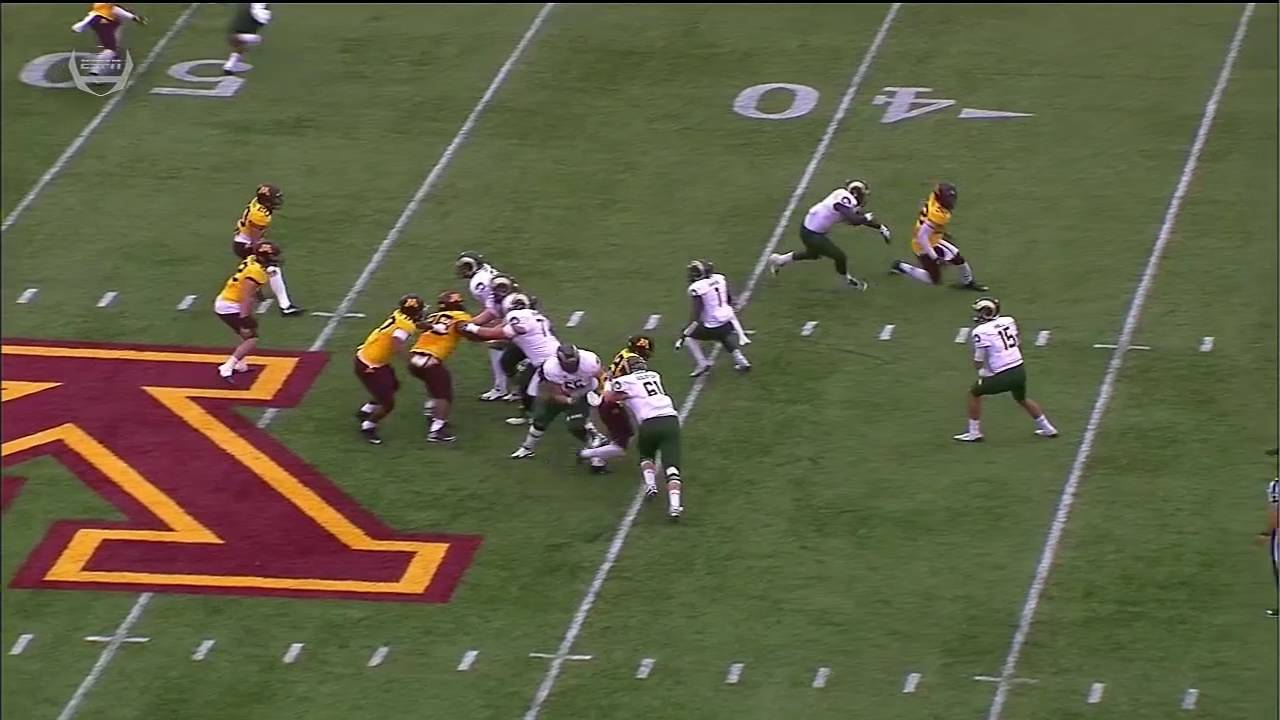 Minnesota's Tai'yon Devers with a helmet popping sack fumble